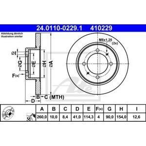 Заден спирачен диск ATE 24.0110-0229.1 260мм Volvo V40 S40 1995-2003